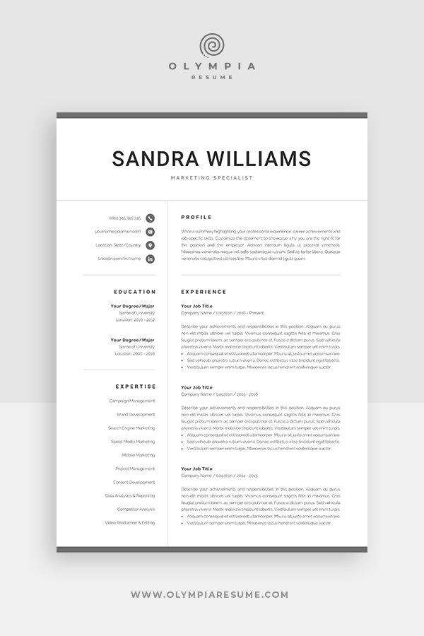 Professional Resume Template For Word Modern Marketing Cv Etsy In 2020 Resume Template Word Resume Template Professional Resume Template