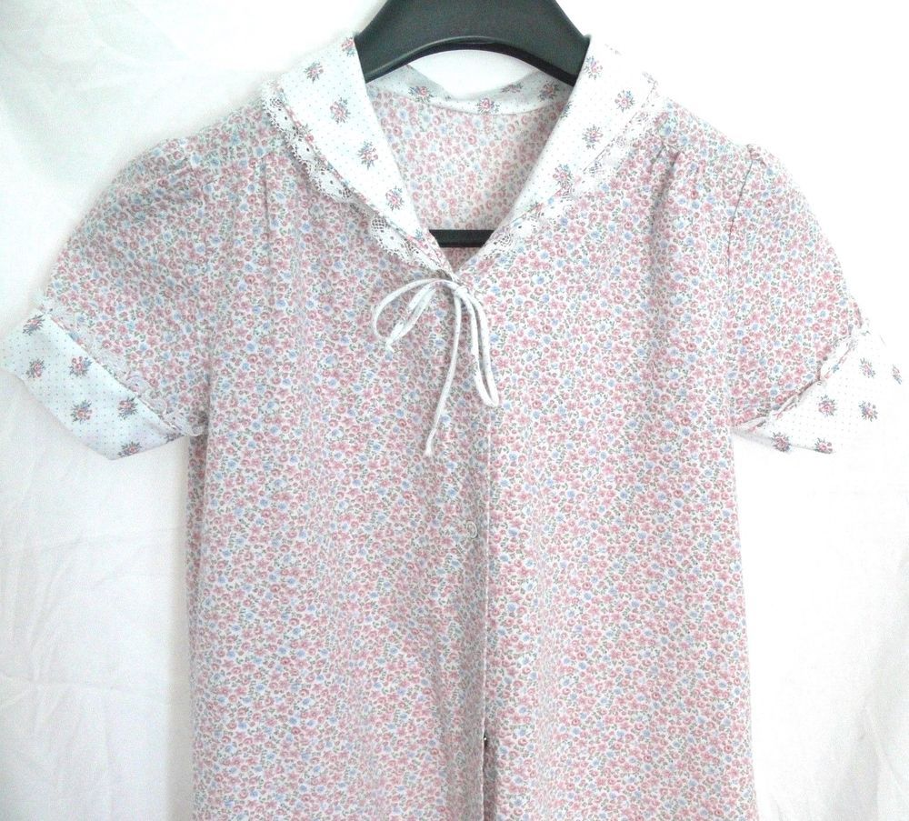 Women S Vtg Jcpenney Misses Robe Loose Floral Night Gown Button Up