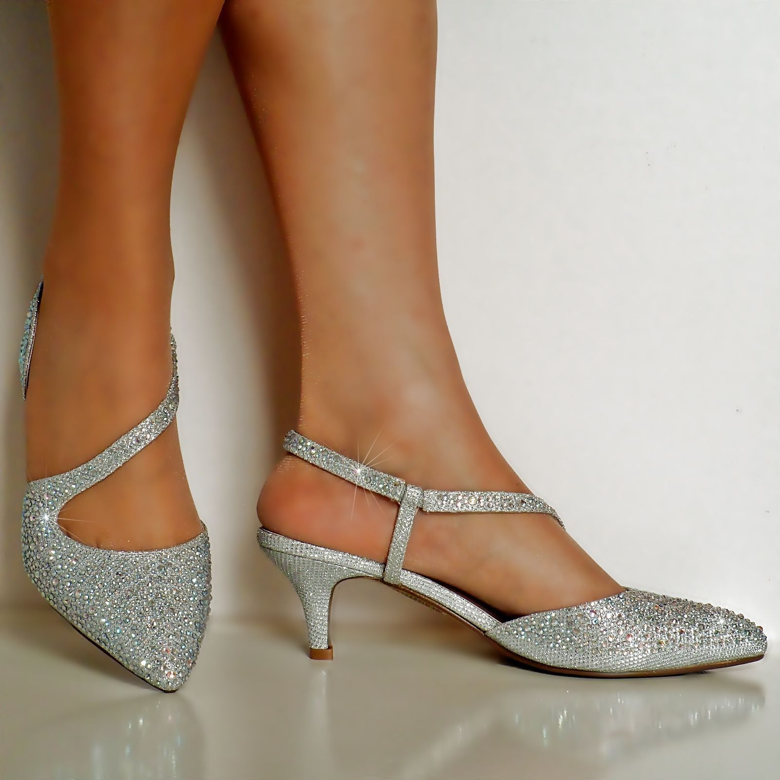 New Diamante Silver Gold Low Kitten Heel Prom Evening Bridal Shoes Sandals Ladies Evening Bridal Bridal Shoes Low Heel Silver Shoes Low Heel Kitten Heel Shoes