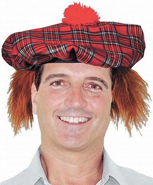 Tartan Scottish Hat with Ginger Hair Tam O Shanter with hair Fancy Dress Hat