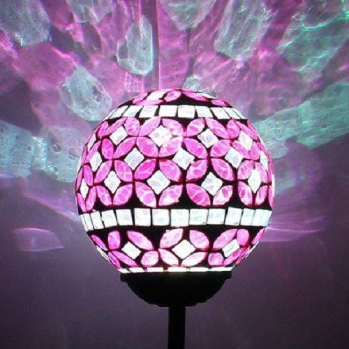 Amazing Solar Power Pink Mosaic Glass Ball Garden Light, Color Changing Multi Color