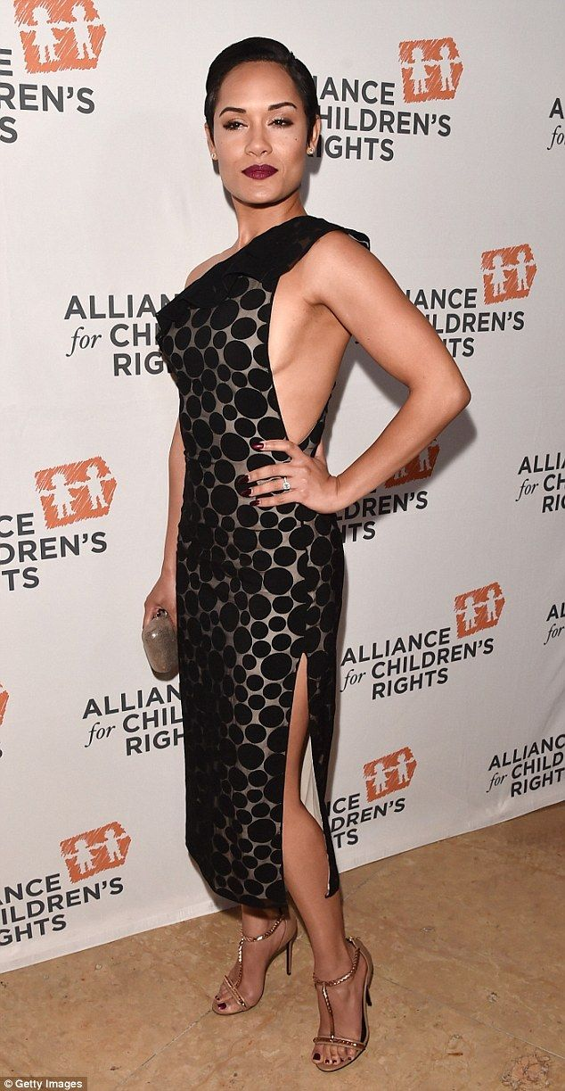 Showing some skin: Empire's Grace Gearly, 31, turned heads with a provocative one-shoulder...