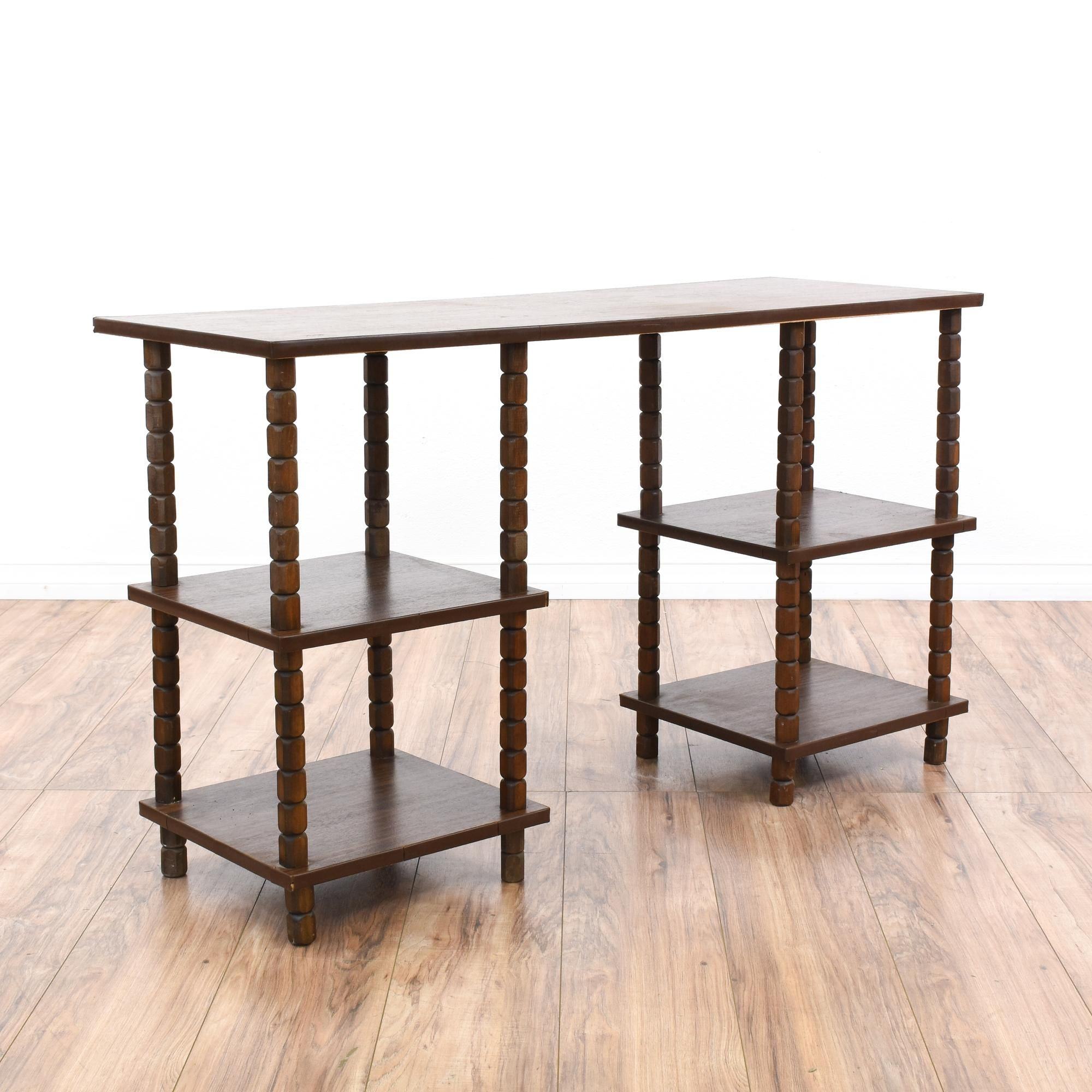 Dark Oak Tiered Bookshelf Desk
