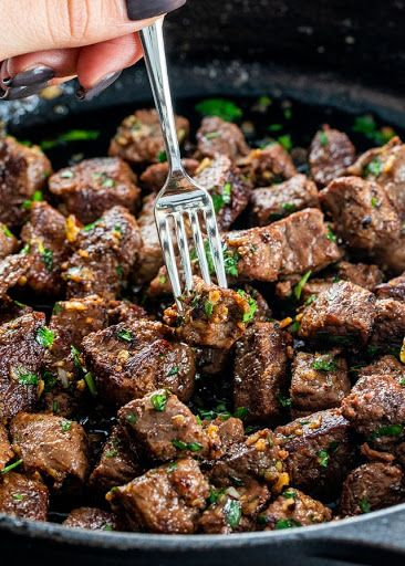 Garlic Butter Steak Bites #meatrecipes
