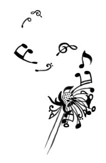 I like this idea... the dandelion petals turning into music notes...