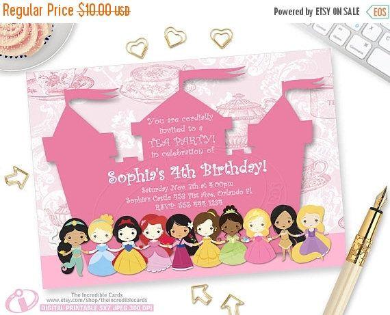 50% OFF SALE DISNEY Princesses Princess Tea Party Invitation