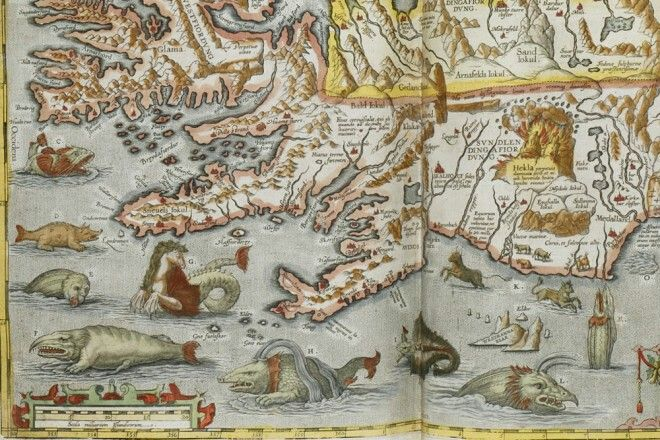 Old map of Iceland also known as Thule awesome sea monsters whale