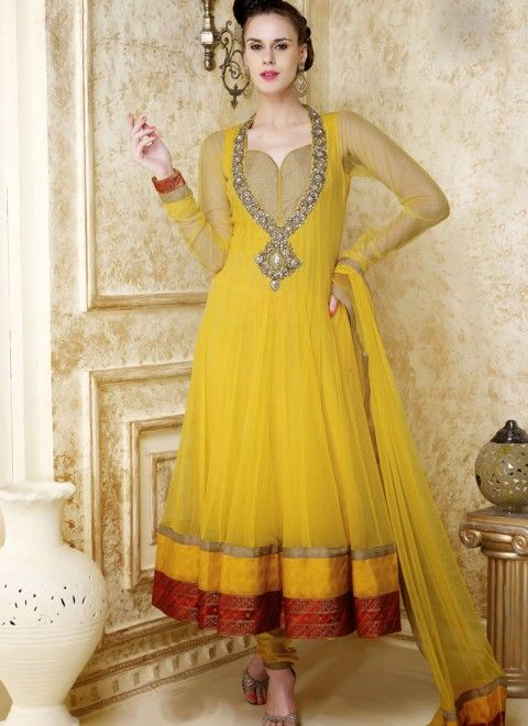 Yellow net readymade designer anarkali suit also best pictures images indian attire gowns dress india rh pinterest