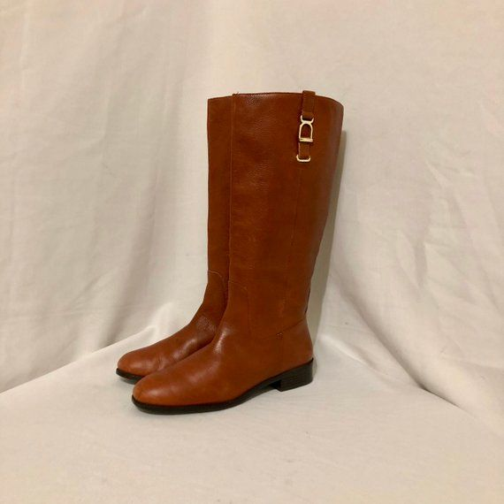 c543c8eddd72b Sz 10M Vintage Tall Brown Genuine Leather 1990s Women Flat Pull On ...