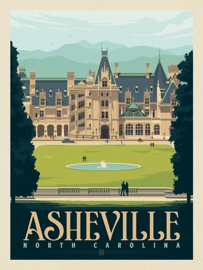 Asheville Nc Biltmore Estate Anderson Design Group In 2020 Anderson Design Group American Travel Travel Posters