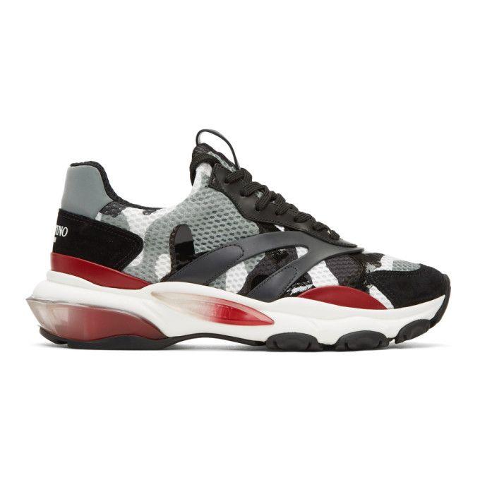Valentino Grey Valentino Garavani Camo Bounce Runner Sneakers ihjQE5