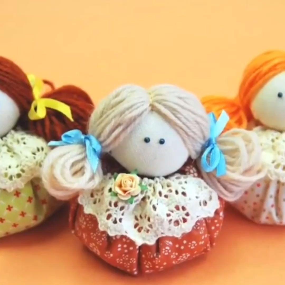 How to make Textil Doll -- Bonequinha feita de fuxico  #bonecas