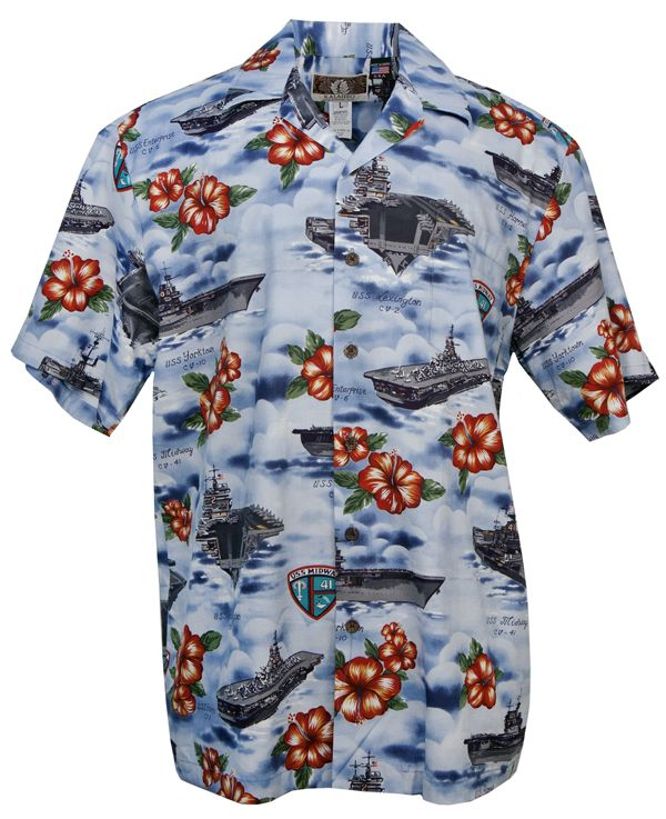 f971e9a96faf US Aircraft Carriers Mens Hawaiian Aloha Shirt in Blue