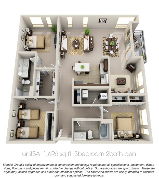 3d floor plan apartment google search casas for Apartment design pdf