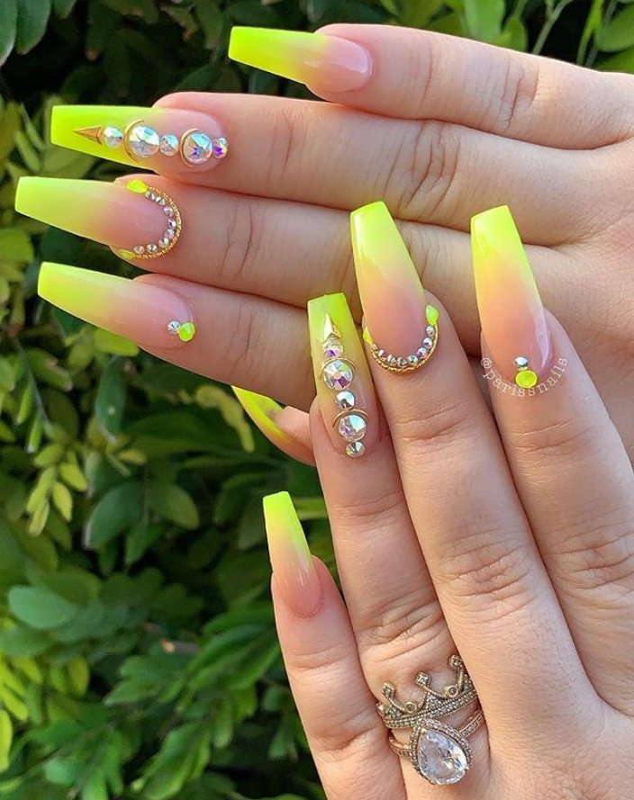 63 Fabulous Acrylic Coffin Nails Design This Summer Acrylic Coffin Design Fabulous Nails Summer In 2020 Neon Yellow Nails Yellow Nail Art Yellow Nails Design