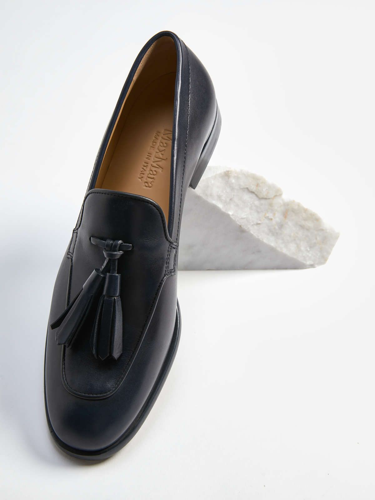 Leather loafer, navy - \