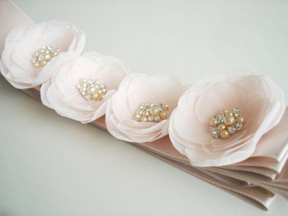 Blush Bridal Sash Pale Pink Wedding Fl Flower Pearl Rhinestone D