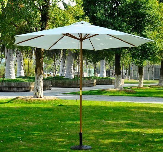 Outsunny Wooden Outdoor Patio Market Umbrella Off White
