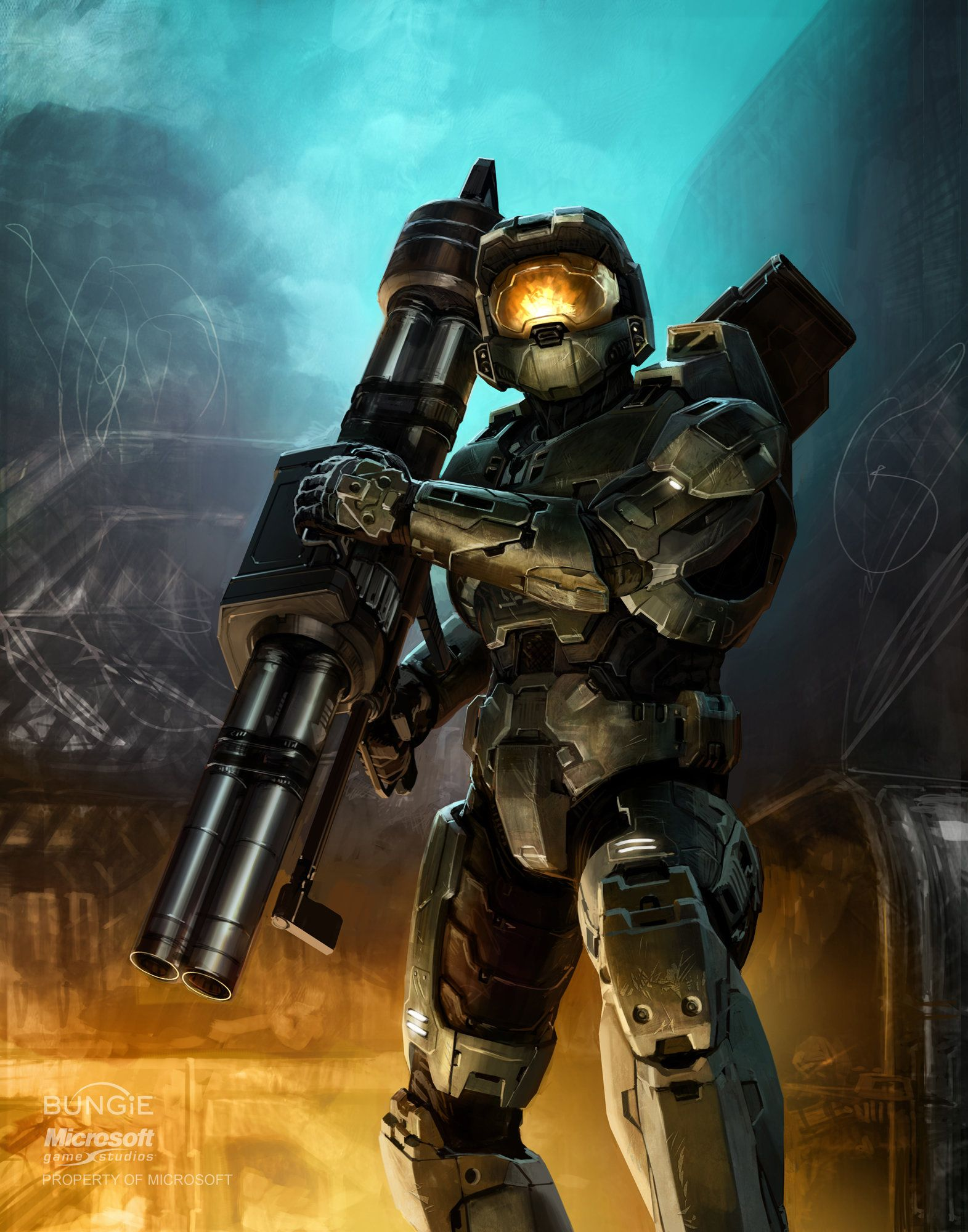 ArtStation Halo 3 Magazine cover Masterchief and rocket