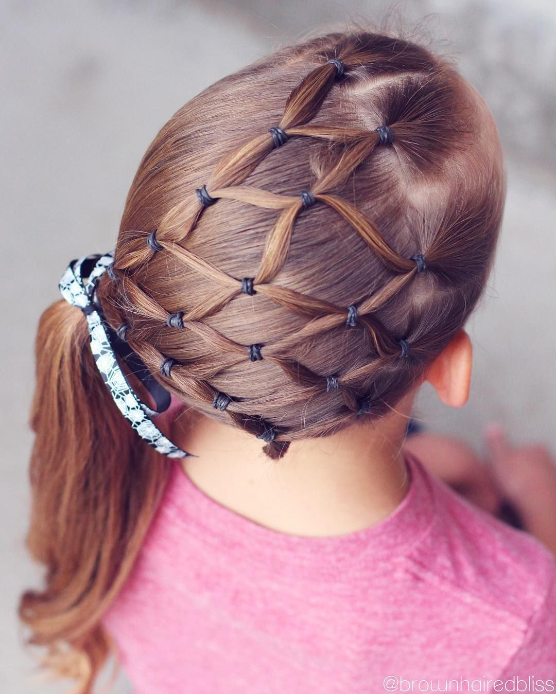 Wondrous Elastic Spiderweb Into A Side Ponytail With A Fun Halloween Ribbon Natural Hairstyles Runnerswayorg