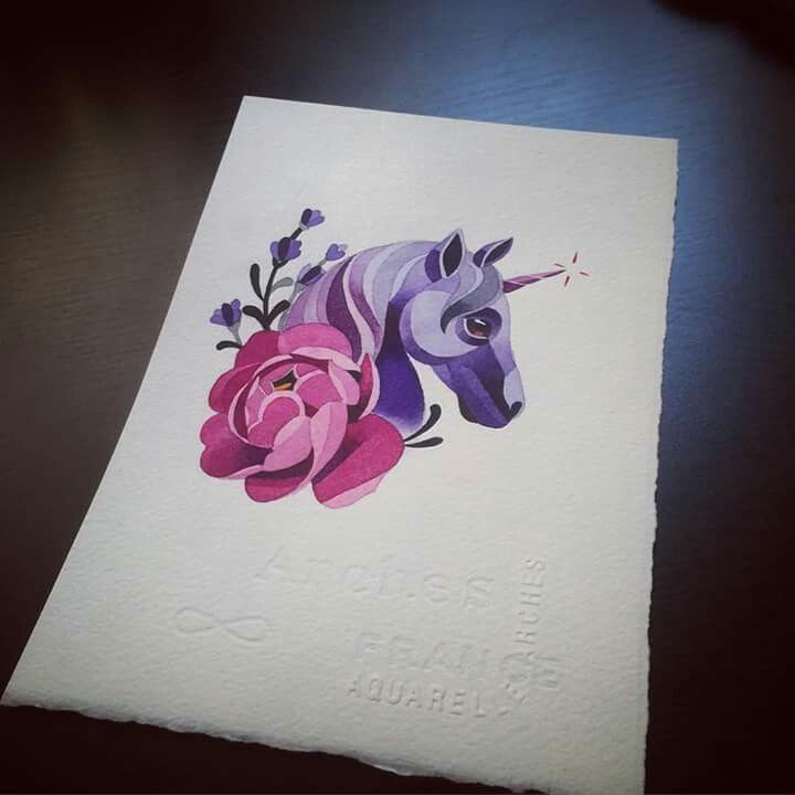 Watercolor Unicorn Flower Tattoo Unicorn Tattoos Cover Tattoo