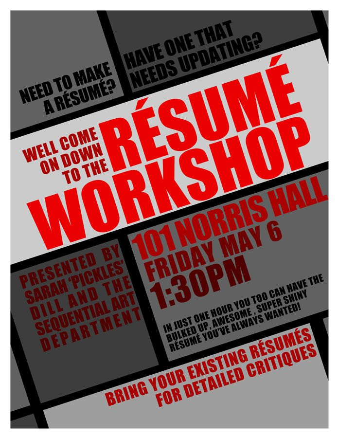 resume workshop flyer PR - advertising, signage, other Pinterest - resume critique free
