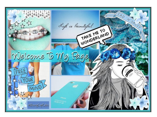 """""""Blue """"Welcome To My Page"""" For A Friend Of Mine"""" by ruby-sapphire ❤ liked on Polyvore featuring art"""