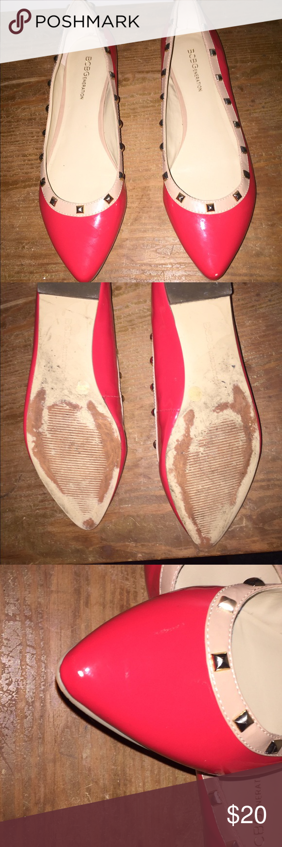 ❗️ final price❗️Coral stud flats Summery and cute coral studded flats.. Bcbg brand... Please note that there are some tiny scuffs (see pic 3 and 4).. Very comfy and cute flats. BCBGeneration Shoes Flats & Loafers