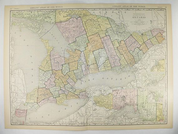 ontario canada map 1912 large map ontario canada great lakes canadian wedding gift for