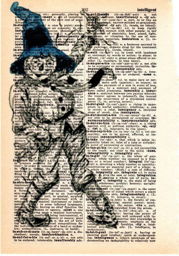 Original Art Imprimé sur antique Dictionary Livre Page Rouge Pantoufles Wizard of Oz