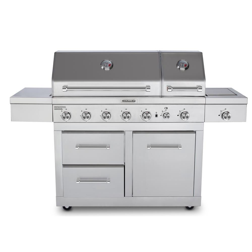 Kitchenaid 6burner dual chamber propane gas grill in
