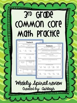 3rd Grade Math Review Spiral Review Worksheets Print And Digital 3rd Grade Math Math Instruction Common Core Math Practices