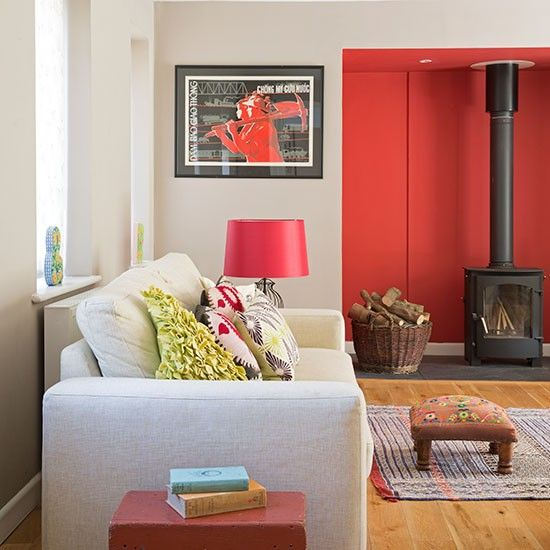 Neutral Living Room With Painted Red Alcove