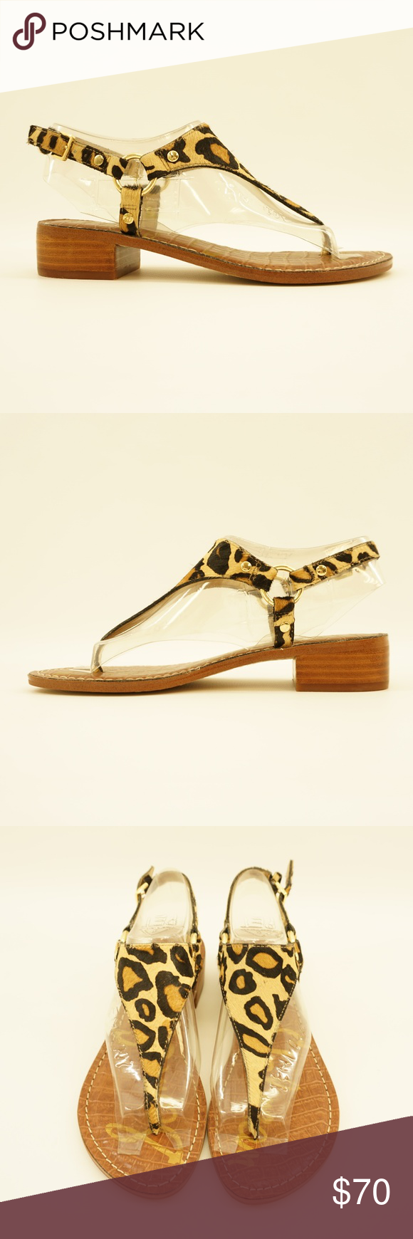 6913941177d5 Sam Edelman Leopard Ankle Strap Thong Heel Sandal Off the rack - displayed  in a department