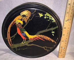 ANTIQUE 1920 GUNTHER FARLEY CANDY TIN LITHO VINTAGE GOLDEN PHEASANT CHINESE BIRD