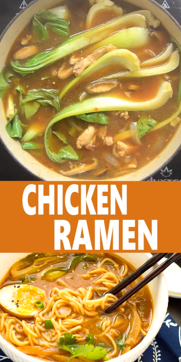EASY CHICKEN RAMEN  This Easy Chicken Ramen can be made at home in about 30 minutes! A flavorful broth with chicken and #chicken #easy #ramen