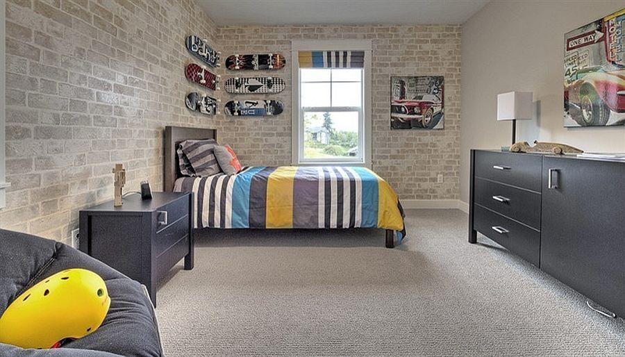 25 Vivacious Kids Rooms With Brick Walls Full Of Personality Brick Wallpaper Bedroom Boys Bedroom Wallpaper Wallpaper Bedroom