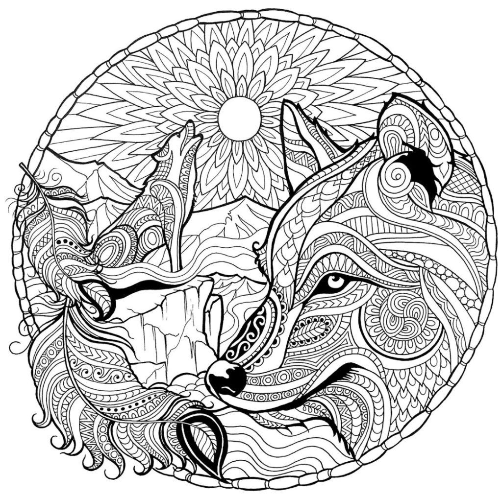 Coloring Rocks Fox Coloring Page Wolf Colors Mandala Coloring Pages