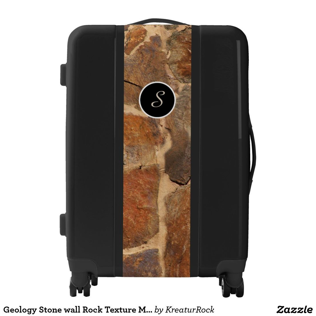Geology Stone wall Rock Texture Monogram Luggage Case