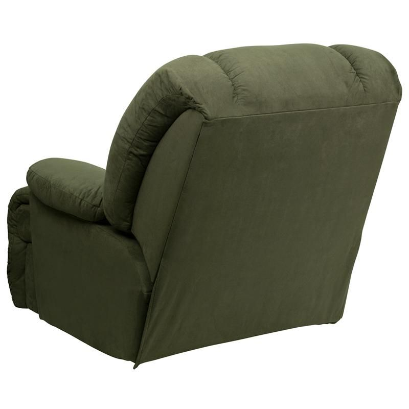 Microfiber Stylish And Comfortable Chaise Rocker Recliner Olive Green Colored Microfiber Upholstery Hi Rocker Recliners Mattress Furniture Furniture Collection