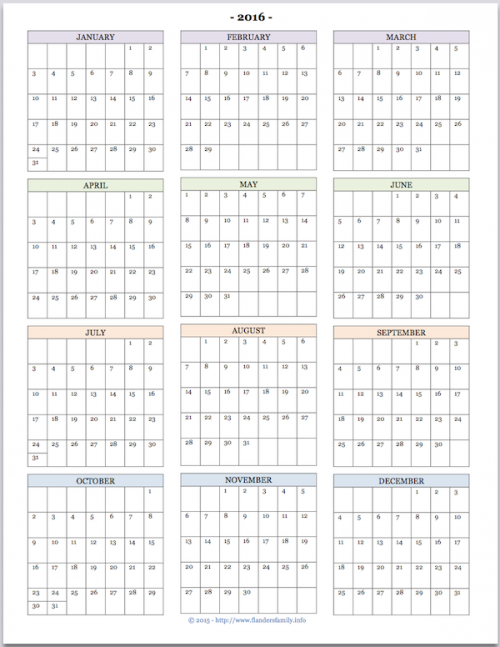 free printable year at a glance calendar for 2016 youll also find tons of other great printables at wwwflandersfamilyinfo