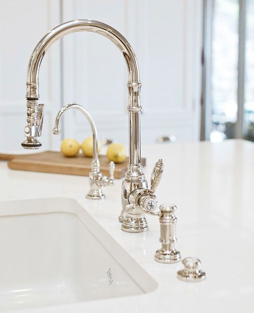 Waterstone Pulldown Polished Nickel This Is The Finish For The Kitchen Fixtures Classic White Kitchen Kitchen Sink Faucets Kitchen Remodel
