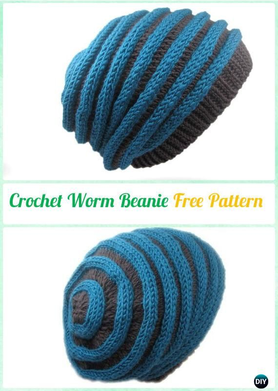 Crochet Worm Beanie Hat Free Pattern Instruction | Crochet and ...