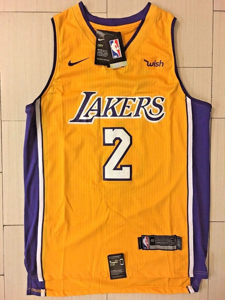 cba41bc4e Men  2 Lonzo Ball Jersey Yellow Los Angeles Lakers Jersey Throwback Swingman