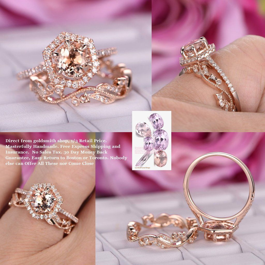 Round Engagement Ring Sets Floral Wedding Band