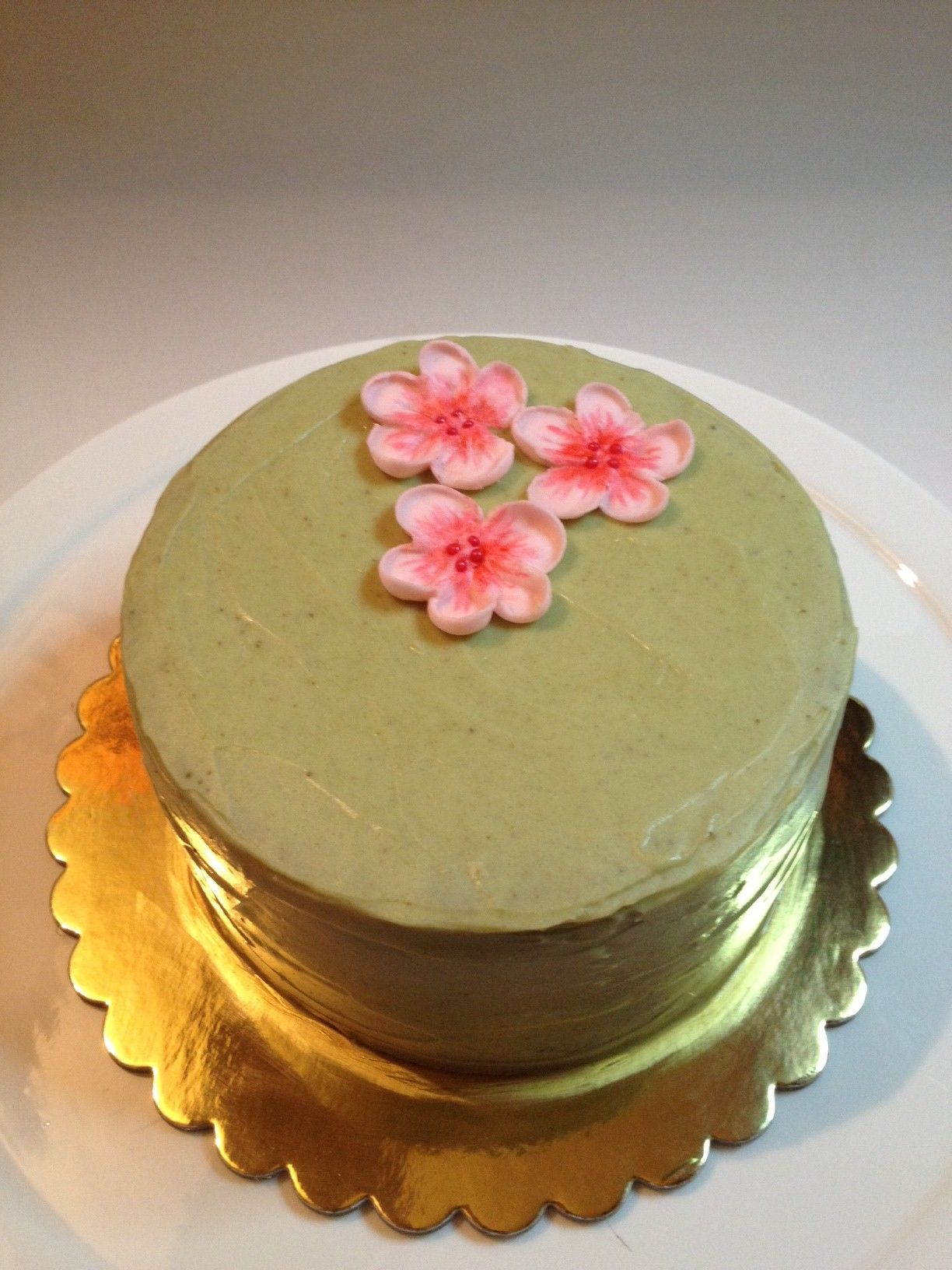 Matcha green tea cake with white chocolate green tea frosting.