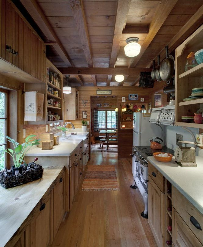 Cottage Galley Kitchen: Mt. Hood Cabin Remodel - Galley Kitchen - Love The Light Fixtures!