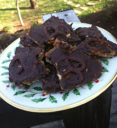 Chocolate Caramel Pretzel Bark