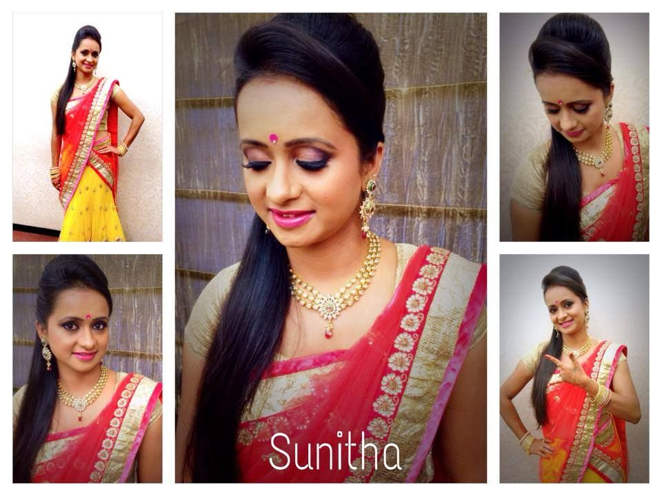 Traditional South Indian bride wearing bridal hair, lehenga and jewellery. Reception look. Makeup by Swank Studio. Find us at https://www.facebook.com/SwankStudioBangalore