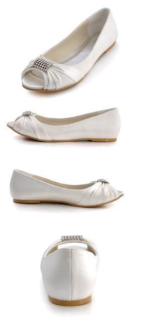 dd75933b6176 Ivory Wedding Shoes Elegantpark EP2053 Rhinestones Wedding Peep Toe Women  Flats Buckle Satin Knot Bridal Shoes  39.95 -  49.95   FREE Returns on some  sizes ...